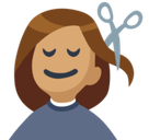Person Getting Haircut Emoji with a Medium Skin Tone, Facebook style