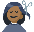 Person Getting Haircut Emoji with a Medium-Dark Skin Tone, Facebook style