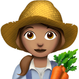 Woman Farmer Emoji with Medium Skin Tone, Apple style