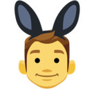 Men with Bunny Ears Partying Emoji, Facebook style