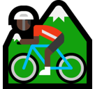 Person Mountain Biking Emoji with Dark Skin Tone, Microsoft style