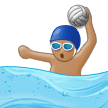 Person Playing Water Polo Emoji with Medium Skin Tone, Samsung style