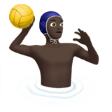 Man Playing Water Polo Emoji with a Dark Skin Tone, Apple style