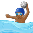 Man Playing Water Polo Emoji with Medium-Dark Skin Tone, Samsung style