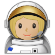Woman Astronaut Emoji with a Medium-Light Skin Tone, Samsung style