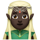 Man Elf Emoji with Dark Skin Tone, Apple style