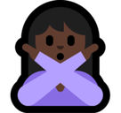 Person Gesturing No Emoji with a Dark Skin Tone, Microsoft style