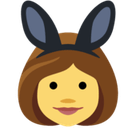 Women with Bunny Ears Partying Emoji, Facebook style