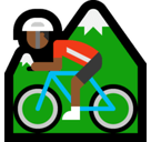 Man Mountain Biking Emoji with Medium-Dark Skin Tone, Microsoft style