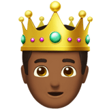 Prince Emoji with Medium-Dark Skin Tone, Apple style