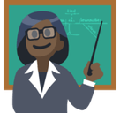 Woman Teacher Emoji with Dark Skin Tone, Facebook style