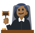Woman Judge Emoji with Medium-Dark Skin Tone, Facebook style