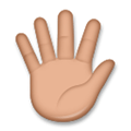 Raised Hand with Fingers Splayed Emoji with a Medium Skin Tone, LG style