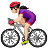 Woman Biking Emoji with Light Skin Tone, Apple style