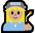 Woman Factory Worker Emoji with Medium-Light Skin Tone, Microsoft style