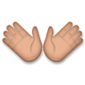 Open Hands Emoji with a Medium Skin Tone, LG style