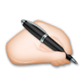Writing Hand Emoji with Light Skin Tone, LG style