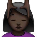 Person Getting Massage Emoji with a Dark Skin Tone, Apple style
