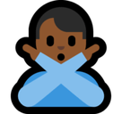 Man Gesturing No Emoji with Medium-Dark Skin Tone, Microsoft style