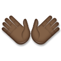 Open Hands Emoji with Dark Skin Tone, LG style