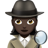 Woman Detective Emoji with a Dark Skin Tone, Apple style