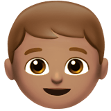 Boy Emoji with Medium Skin Tone, Apple style