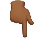 Backhand Index Pointing Down Emoji with a Medium-Dark Skin Tone, Apple style