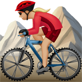 Woman Mountain Biking Emoji with a Medium-Light Skin Tone, Apple style
