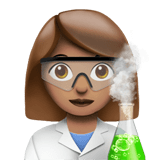 Woman Scientist Emoji with a Medium Skin Tone, Apple style