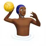 Man Playing Water Polo Emoji with Medium-Dark Skin Tone, Apple style