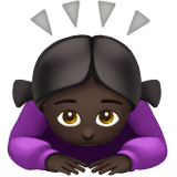 Woman Bowing Emoji with a Dark Skin Tone, Apple style
