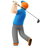 Man Golfing Emoji with Light Skin Tone, Apple style