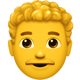 Man: Curly Hair Emoji, Apple style