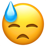 Downcast Face with Sweat Emoji, Apple style