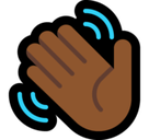 Waving Hand Emoji with a Medium-Dark Skin Tone, Microsoft style
