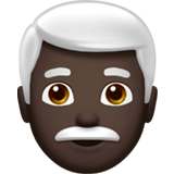 Man: Dark Skin Tone, White Hair, Apple style