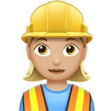 Woman Construction Worker Emoji with a Medium-Light Skin Tone, Apple style