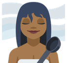 Woman in Steamy Room Emoji with Medium-Dark Skin Tone, Facebook style