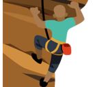 Man Climbing Emoji with Medium-Dark Skin Tone, Facebook style