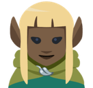 Woman Elf Emoji with Dark Skin Tone, Facebook style