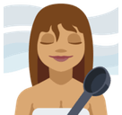 Woman in Steamy Room Emoji with Medium Skin Tone, Facebook style