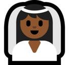 Bride with Veil Emoji with Medium-Dark Skin Tone, Microsoft style