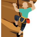 Man Climbing Emoji with Medium-Light Skin Tone, Facebook style