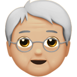 Older Person Emoji with Medium-Light Skin Tone, Apple style