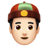 Man with Chinese Cap Emoji with Light Skin Tone, Apple style