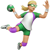 Woman Playing Handball Emoji with Medium-Light Skin Tone, Apple style