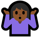 Person Shrugging Emoji with Medium-Dark Skin Tone, Microsoft style
