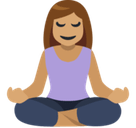 Woman in Lotus Position Emoji with Medium Skin Tone, Facebook style