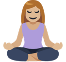 Woman in Lotus Position Emoji with Medium-Light Skin Tone, Facebook style
