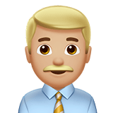 Man Office Worker Emoji with a Medium-Light Skin Tone, Apple style